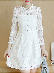 Round Neck  Decorative Button  Lace Skater Dress