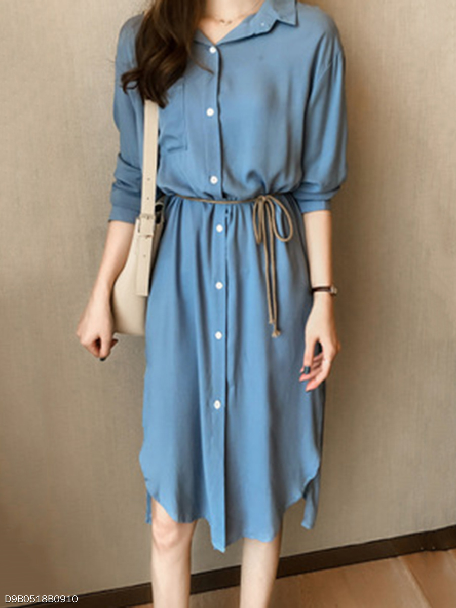 Turn Down Collar  Plain Basic Shift Dress