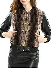 Band-Collar-Patchwork-Slit-Pocket-Jacket