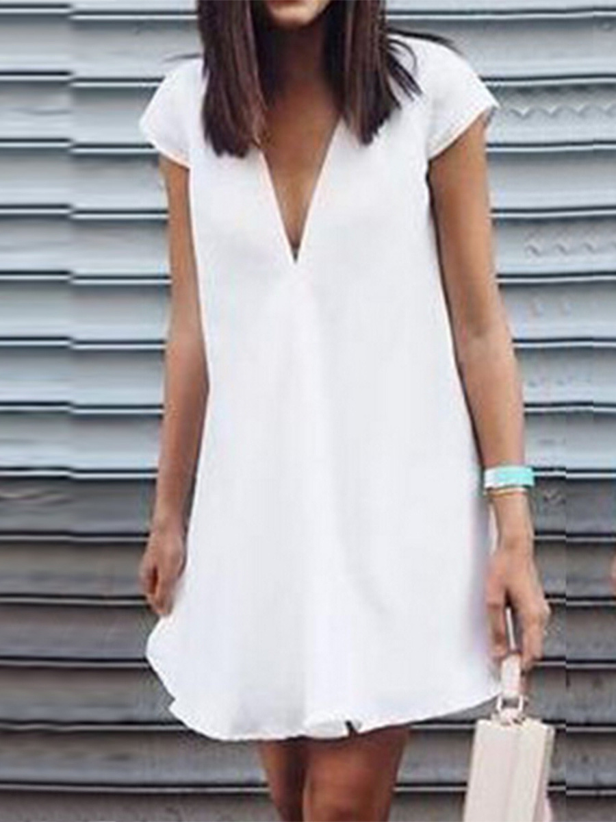 V-Neck  Plain Shift Dress