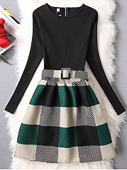 Color Block Plaid Belt Skater Dress
