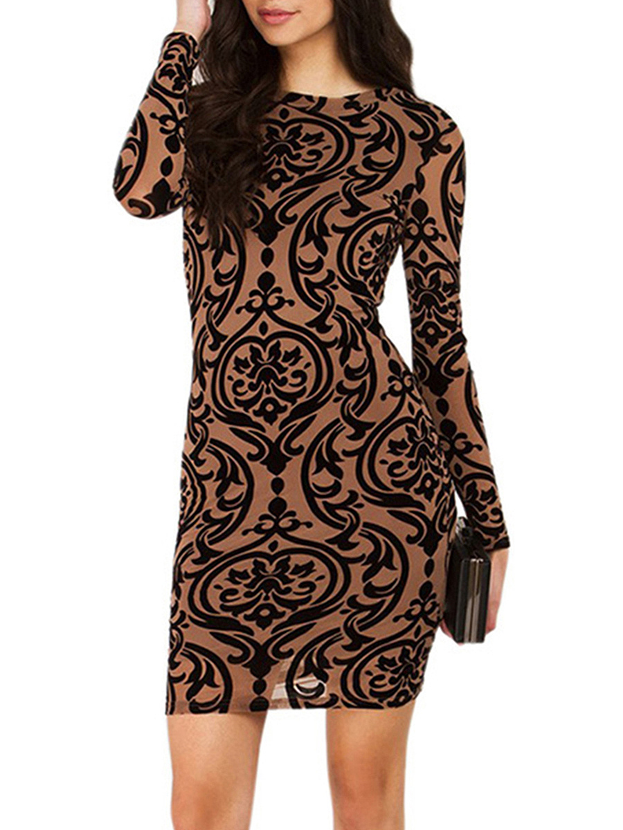 Crew Neck  Back Hole  Printed Bodycon Dress
