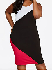 Round Neck  Patchwork  Color Block Plus Size Bodycon Dresses