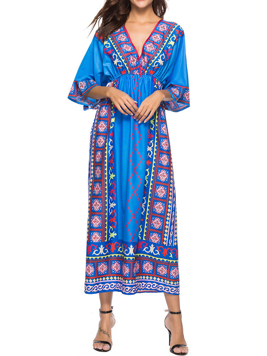 V-Neck  Elastic Waist  Printed Maxi Dress