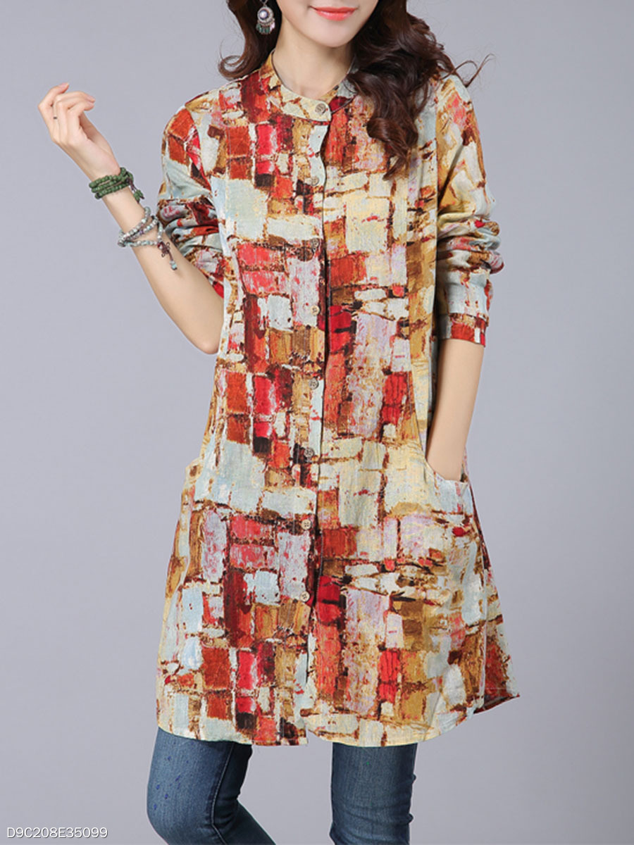Band Collar Pocket Printed Shift Dress