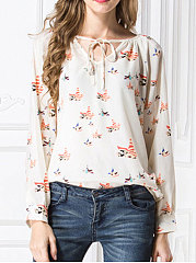 Autumn Spring  Chiffon  Women  Tie Collar  Floral Printed  Long Sleeve Blouses