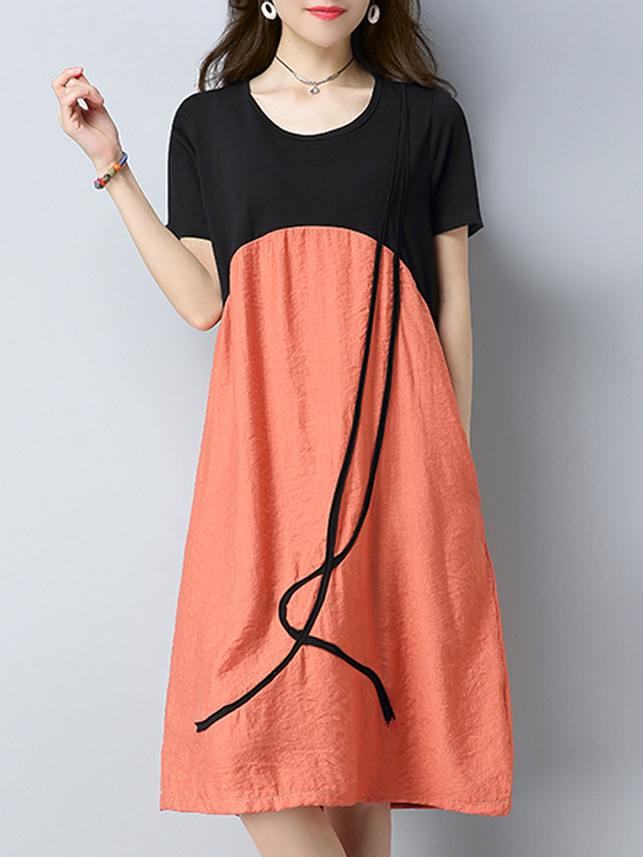 Color Block Round Neck Pocket Midi Shift Dress