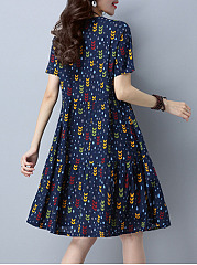 Round Neck Printed Short Sleeve Casual Skater Dress