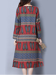 Printed Linen Round Neck Maxi Dress