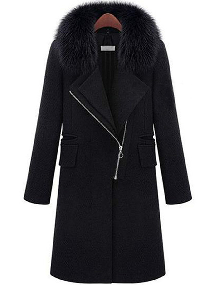 Lapel Zips Plain Woolen Coat