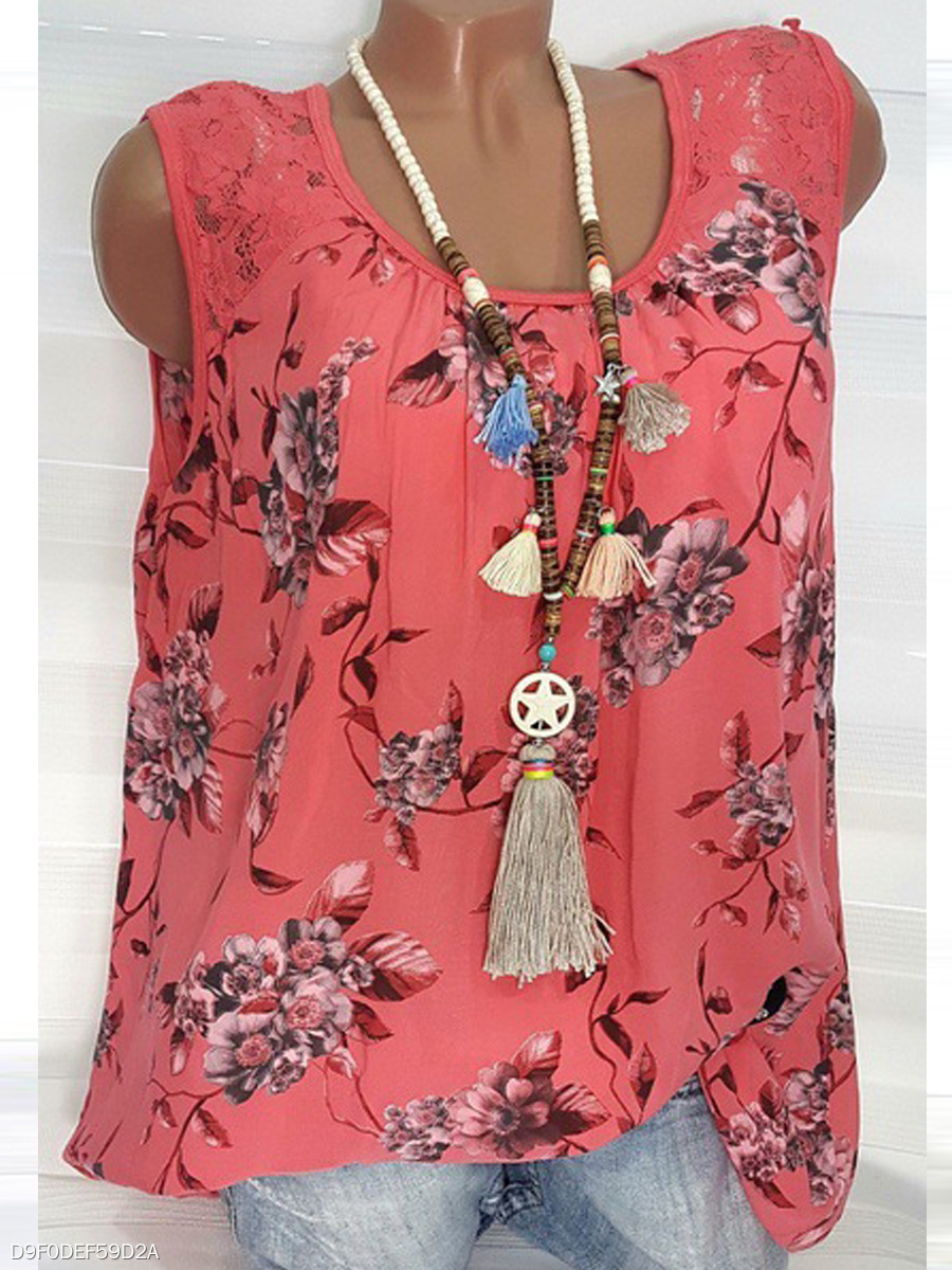 Spring Summer  Polyester  Women  Round Neck  Decorative Lace  Floral Printed Sleeveless T-Shirts