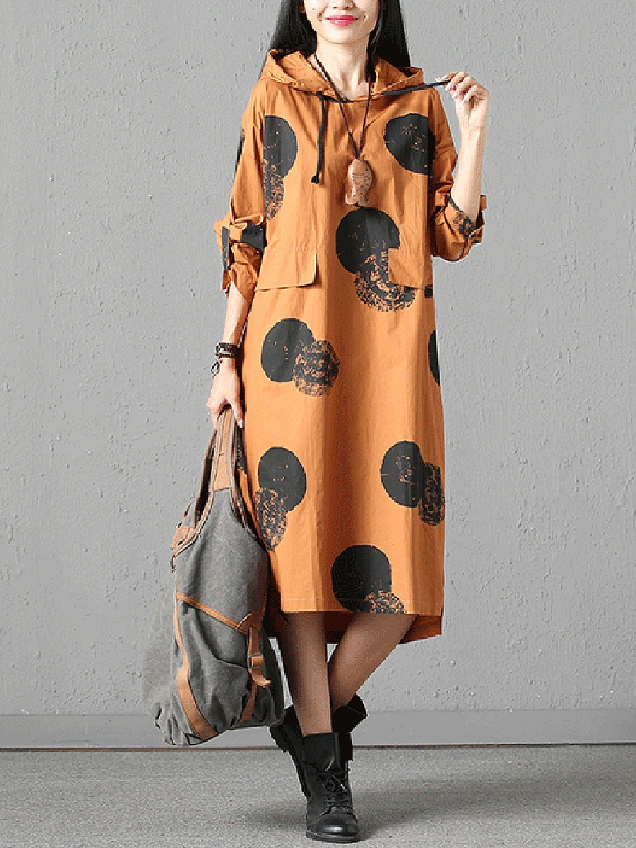 Oversized Hooded Pocket Printed Maxi Dress