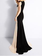 Crew Neck  Patchwork  Fishtail Hem  Plain Evening Dress