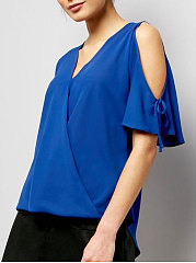 Spring Summer  Polyester  Women  Surplice  Plain  Tie Sleeve  Short Sleeve Blouses
