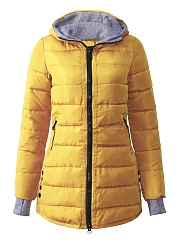Hooded Zipspocket Quilted Padded Coat