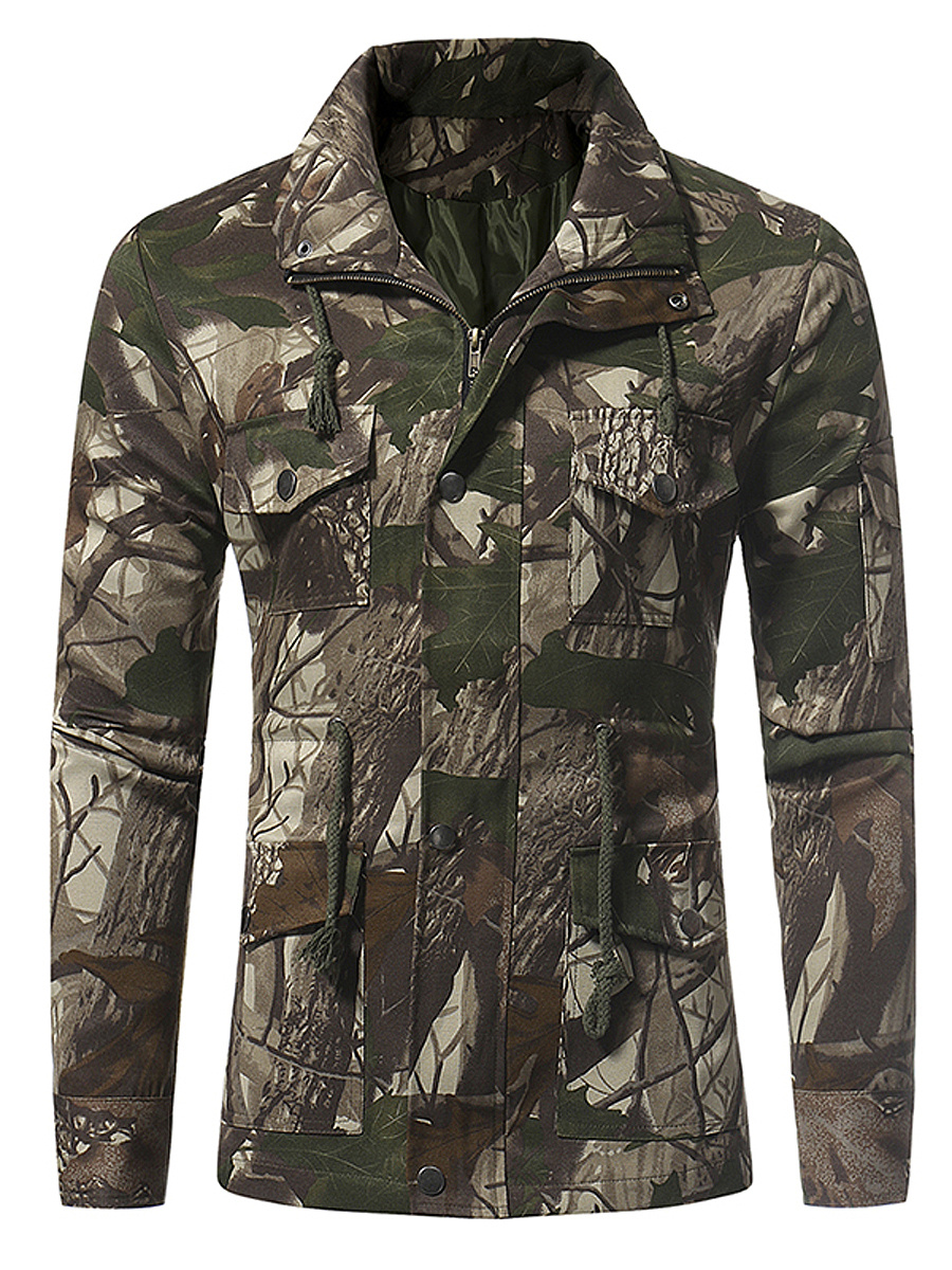 Lapel Camouflage Drawstring Flap Pocket Men Coat