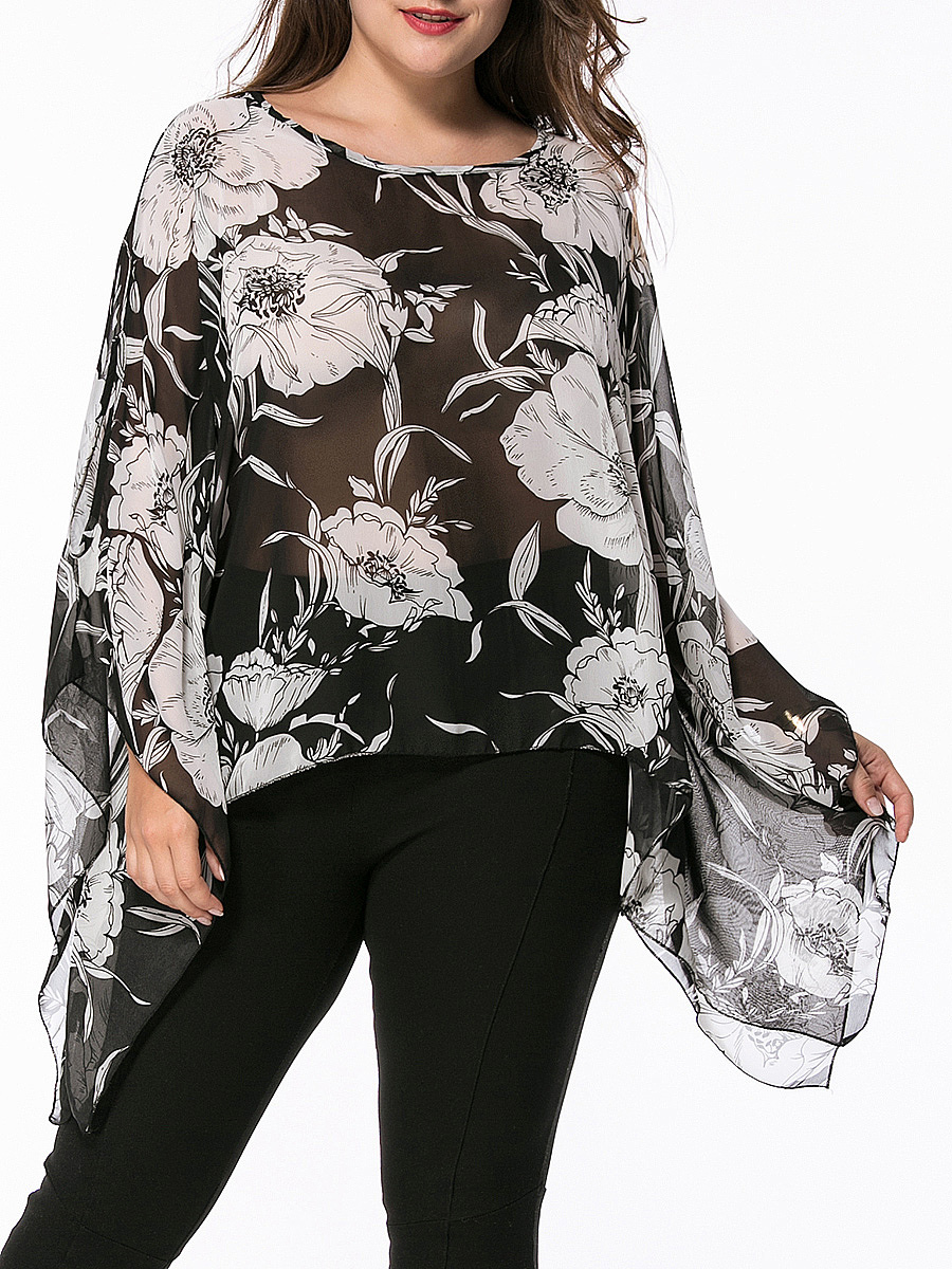 Asymmetric Hem  Floral Hollow Out Chiffon Plus Size Blouse