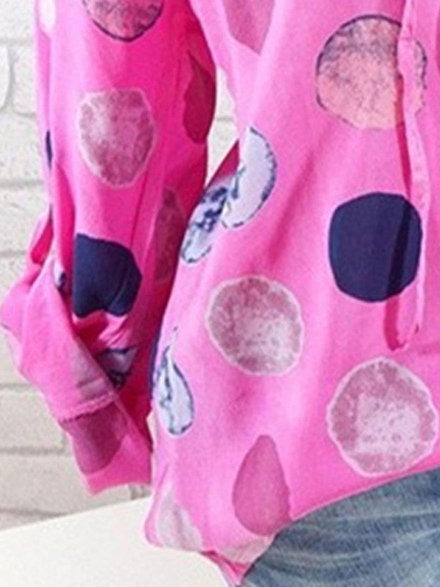 Spring  Blend  Women  Tie Collar  Polka Dot  Long Sleeve Blouses