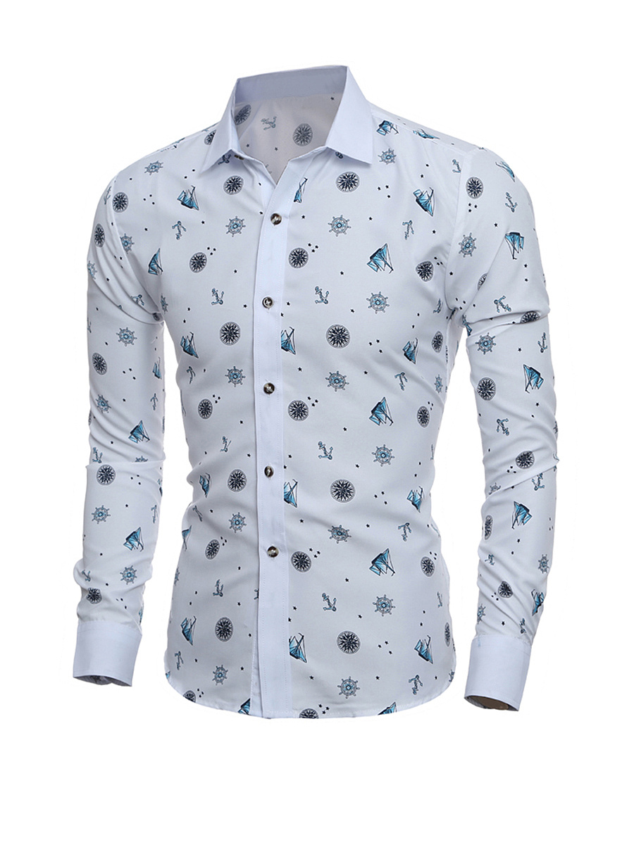 Turn Down Collar  Printed  Long Sleeve Long Sleeves