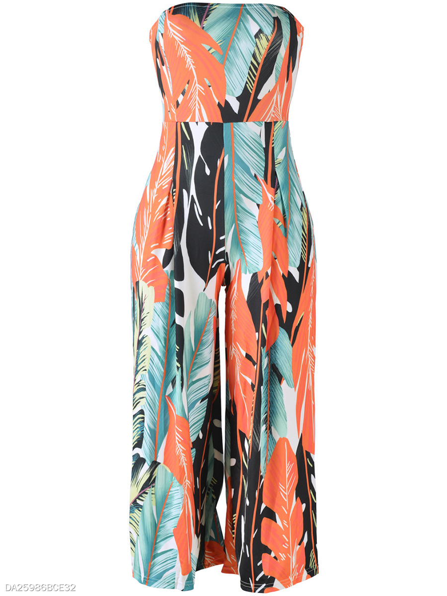 Strapless Printed Wide-Leg Jumpsuit