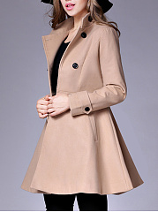 Band Collar  Double Breasted  Plain Coats