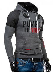 Letters Printed Patchwork Kangaroo Pocket Men Hoodie