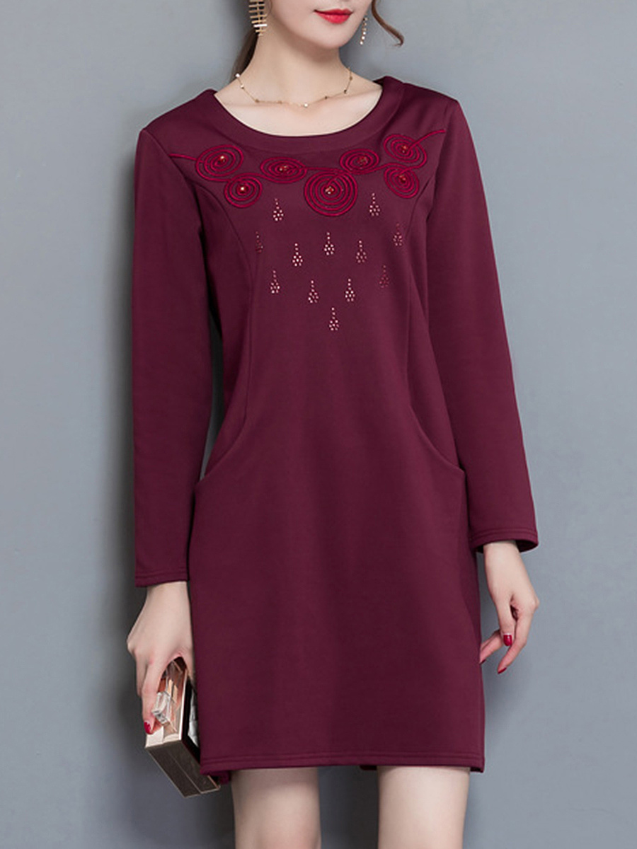 Plain Rhinestone Embroidery Shift Dress