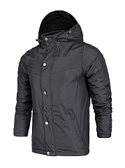 Hooded Single Breasted Pocket Plain Men Coat