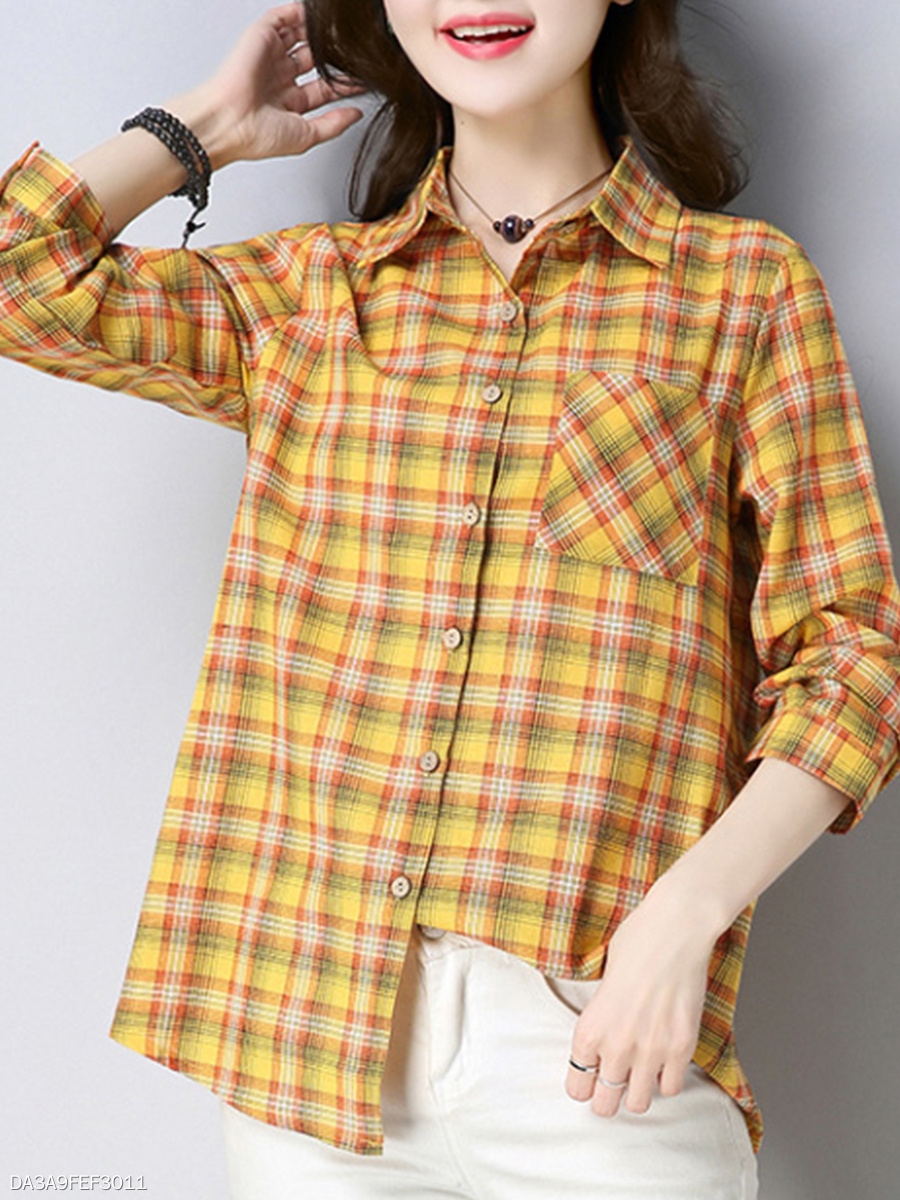 Autumn Spring  Cotton/Linen  Women  Turn Down Collar  Single Breasted  Plaid  Long Sleeve Blouses