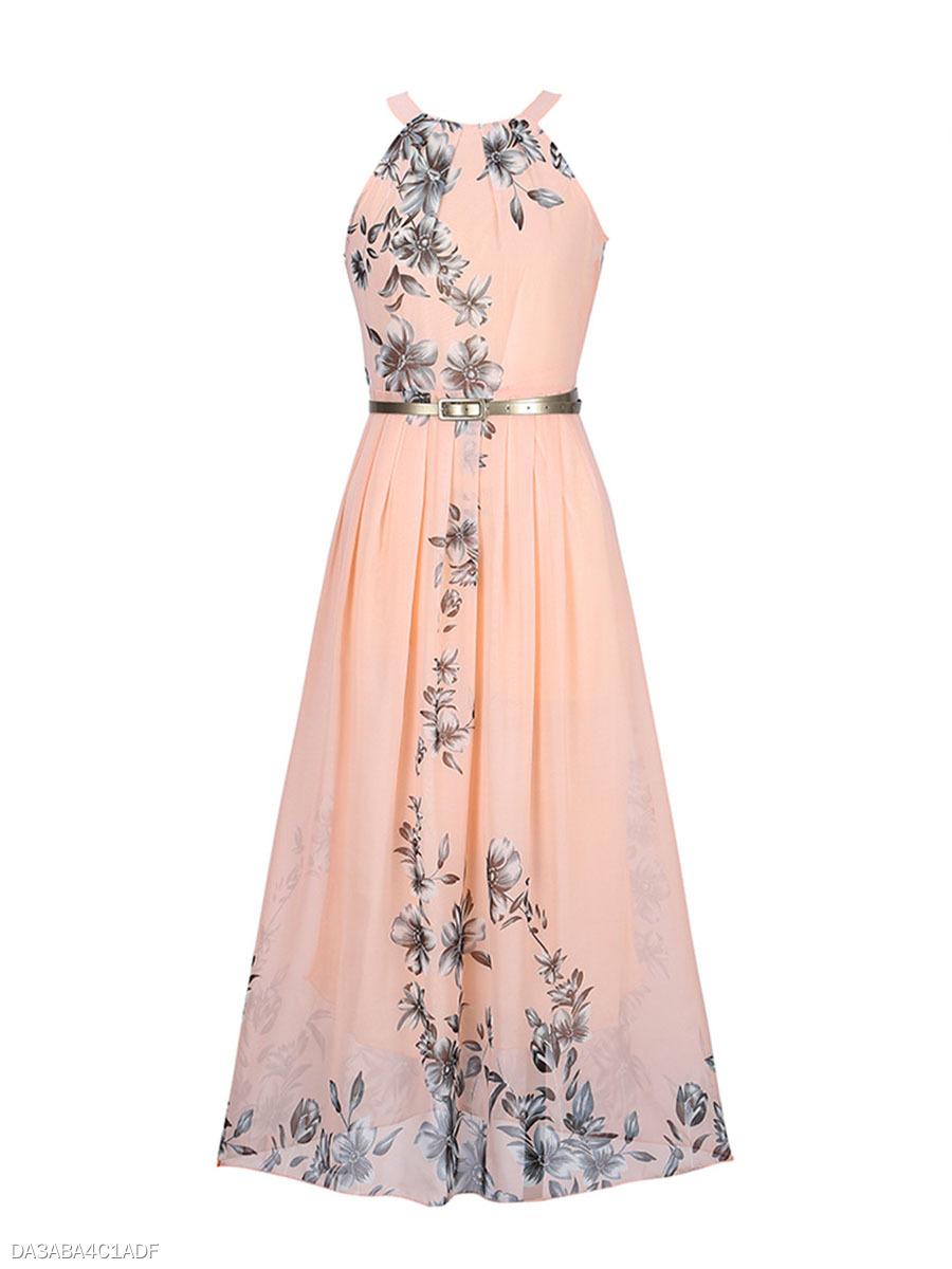 Summer Floral Printed Chiffon Maxi Dress - fashionMia.com