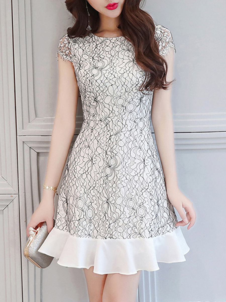 Round Neck  Flounce  Lace  Blend Bodycon Dress