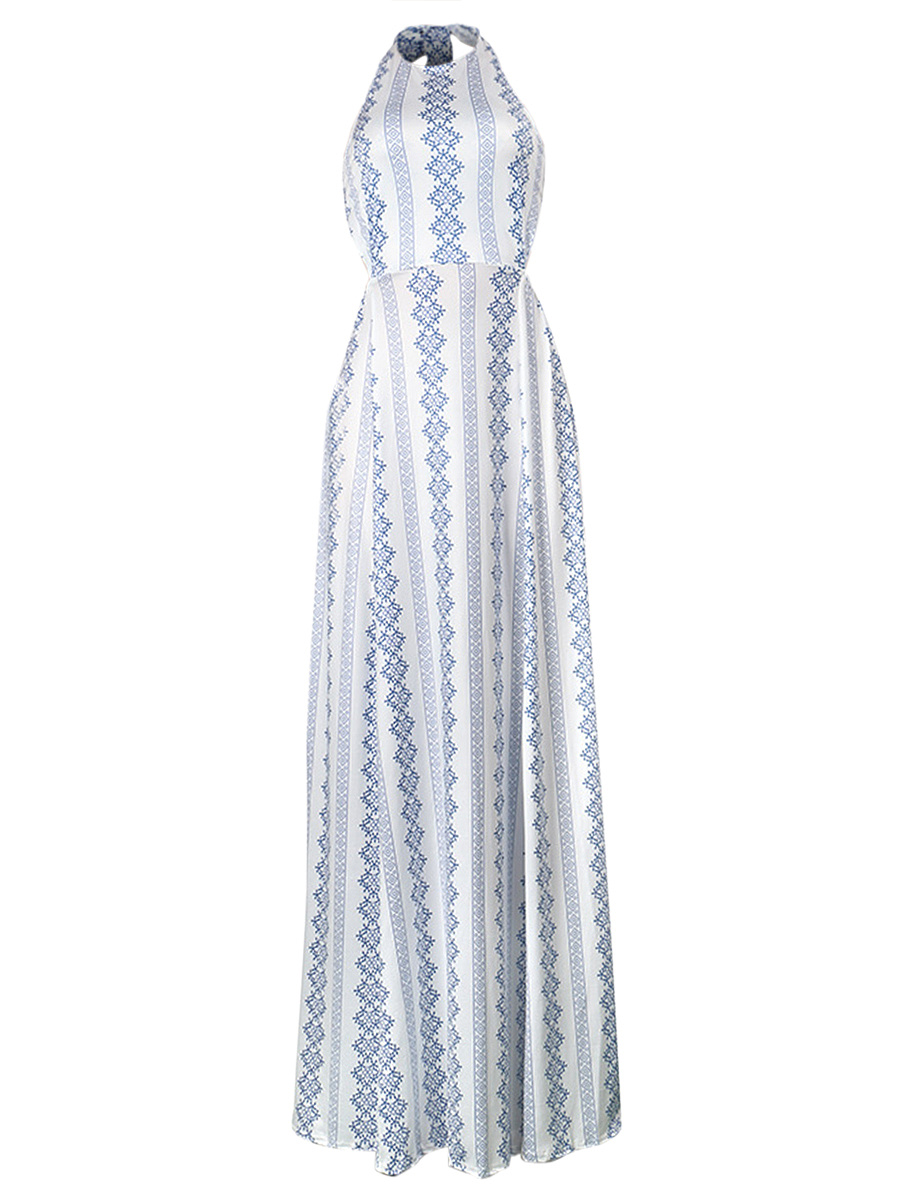 Halter Back Hole Printed Maxi Dress