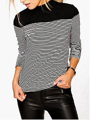 High Neck  Patchwork  Striped Long Sleeve T-Shirts