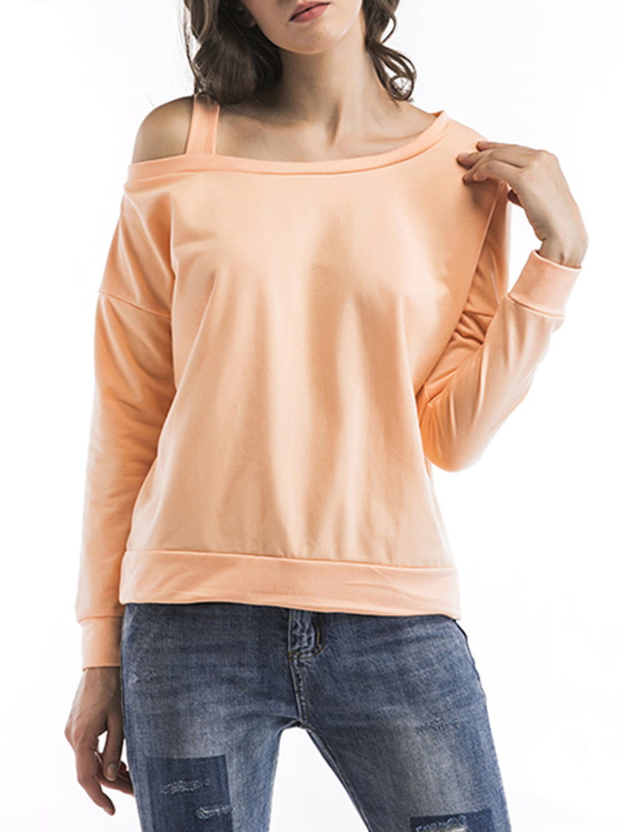 One Shoulder  Plain Long Sleeve T-Shirt