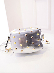 Rivet Gold Pu Phone Crossbody Bag