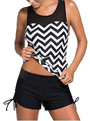 Zigzag-Striped-Patchwork-Racerback-Plus-Size-Swimwear