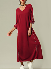 Asymmetric Neck  Bowknot  Plain Maxi Dress