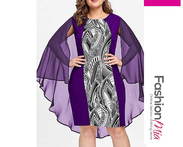 Round Neck  Printed Plus Size Bodycon Dresses