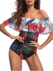 Printed Word Shoulder Slim One Piece Swimsuit Swimwear For Women