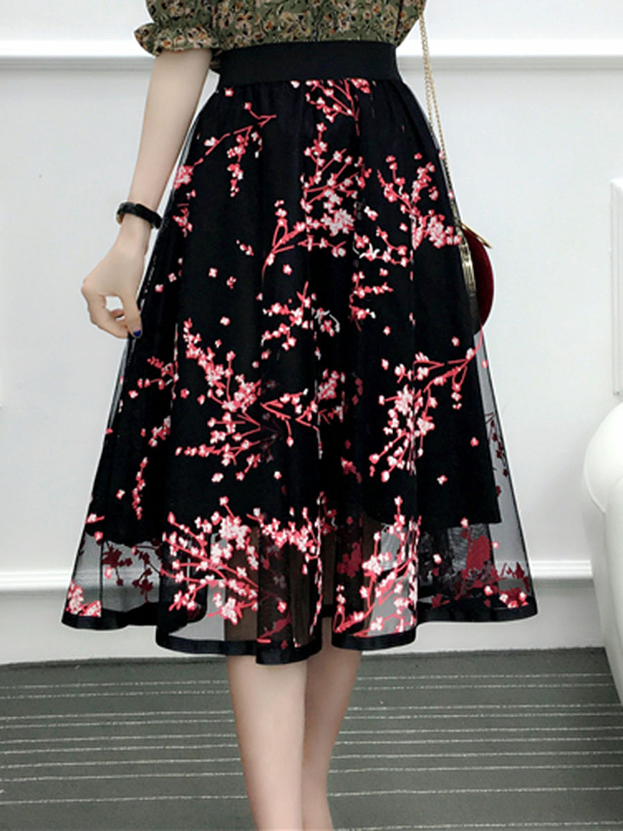 Elastic Waist Floral Hollow Out Flared Midi Skirt