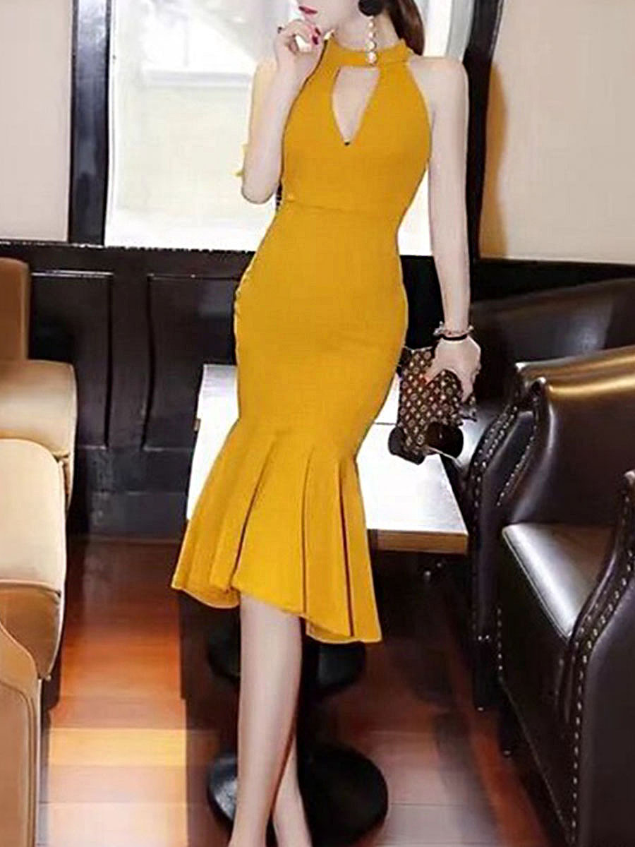 Band Collar Keyhole Plain Midi Mermaid Bodycon Dress