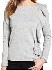 Autumn Spring  Women  Flounce  Plain Long Sleeve T-Shirts