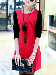 Round Neck  Patch Pocket Patchwork  Color Block  Woolen Shift Dress