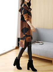 Round Neck  Abstract Print High-Low Shift Dress
