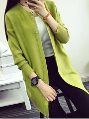 Collarless  Patch Pocket  Decorative Button  Plain  Long Sleeve Cardigans