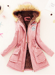 Hooded Drawstring Patch Pocket Badge Coat