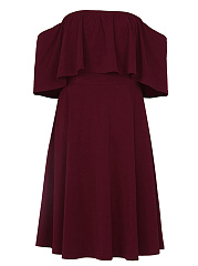 Off Shoulder Flounce Plain Skater Dress
