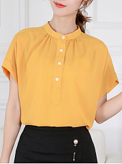 Chiffon  Band Collar  Plain  Short Sleeve Blouse