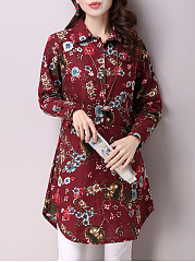 Longline Floral Printed Turn Down Collar Blouse