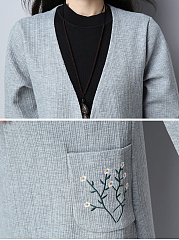 Collarless  Floral Plain  Long Sleeve Accessories
